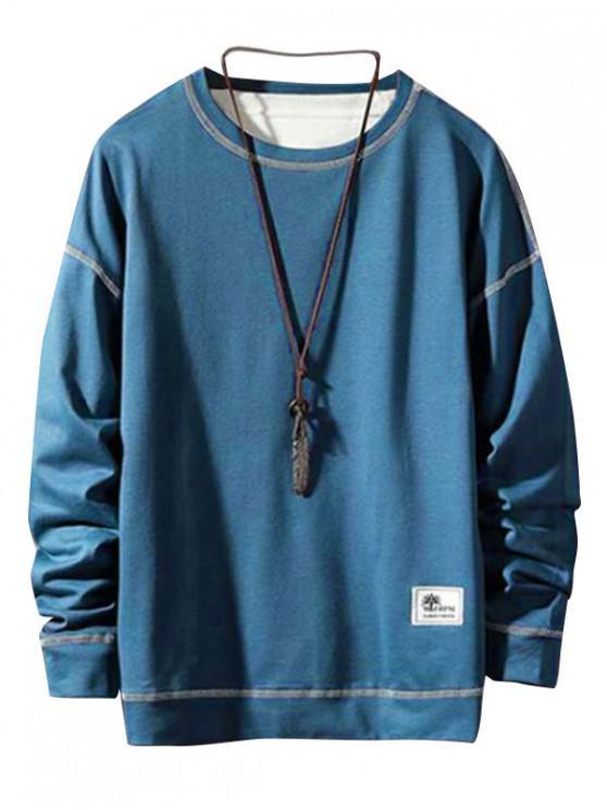 Applique Stitching Pullover Felpa semplice - Cadetblue XS