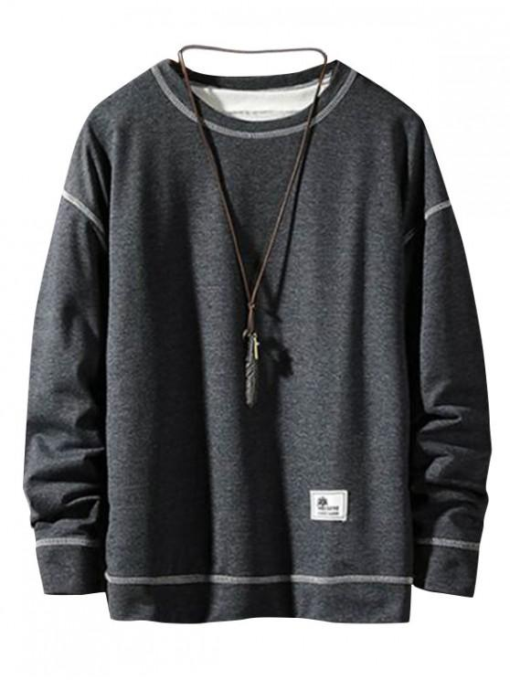 アップリケステッチプルオーバーベーシックスウェットシャツ - 曇った灰色 L