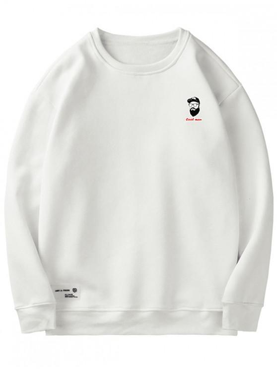 unique Cartoon Embroidery Fuzzy Sweatshirt - WHITE L