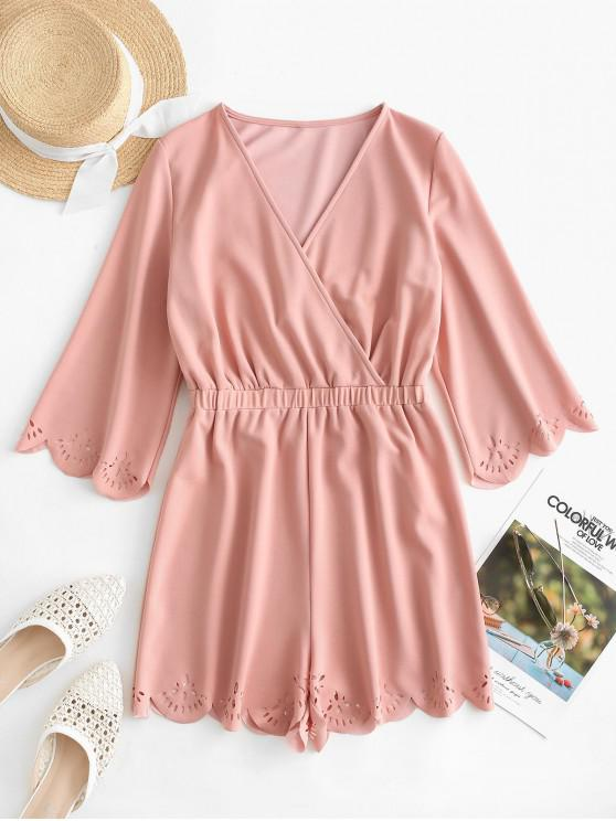 fancy ZAFUL Scalloped Laser Cut Surplice Romper - KHAKI ROSE M