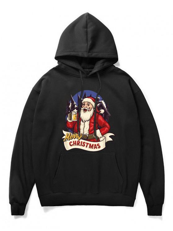 women's Christmas Santa Claus Print Hoodie - BLACK L