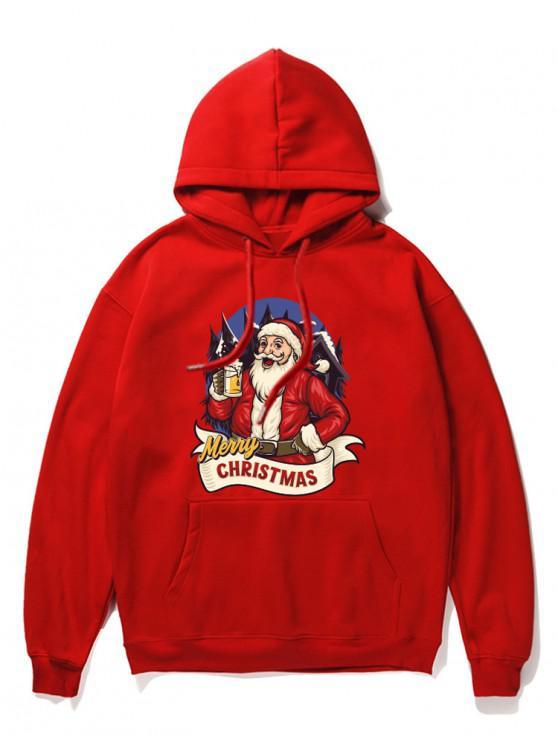 women's Christmas Santa Claus Print Hoodie - RED XL