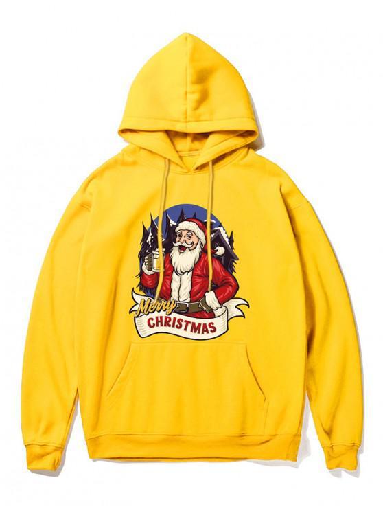 Papá Noel de la impresión con capucha - Amarillo XL