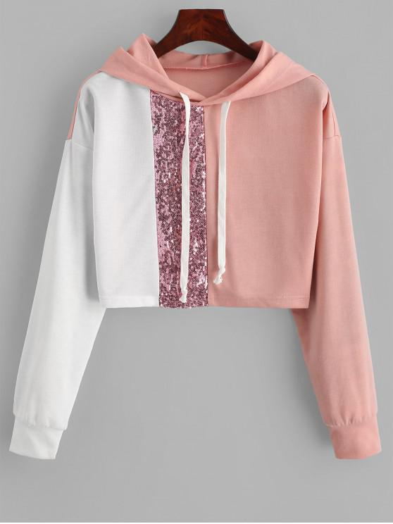 fancy ZAFUL Drawstring Sequined Colorblock Cropped Hoodie - MULTI S