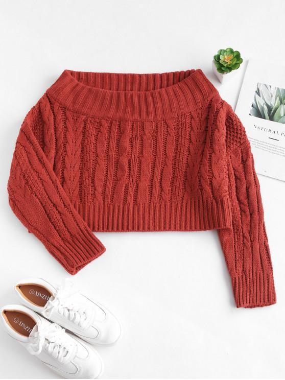hot Chunky Cable Knit Off Shoulder Sweater - BLOOD RED ONE SIZE
