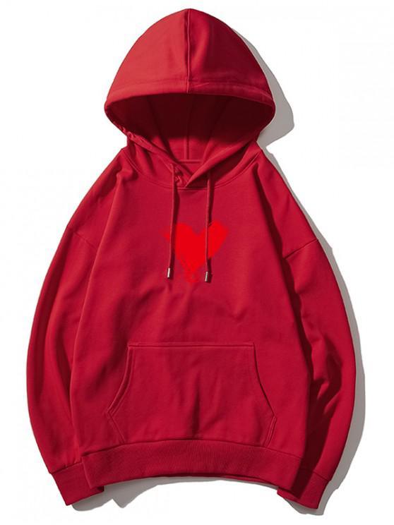 trendy Heart Print Kangaroo Pocket Pullover Hoodie - FIREBRICK XS