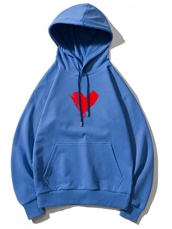 women Heart Print Kangaroo Pocket Pullover Hoodie - DODGER BLUE L