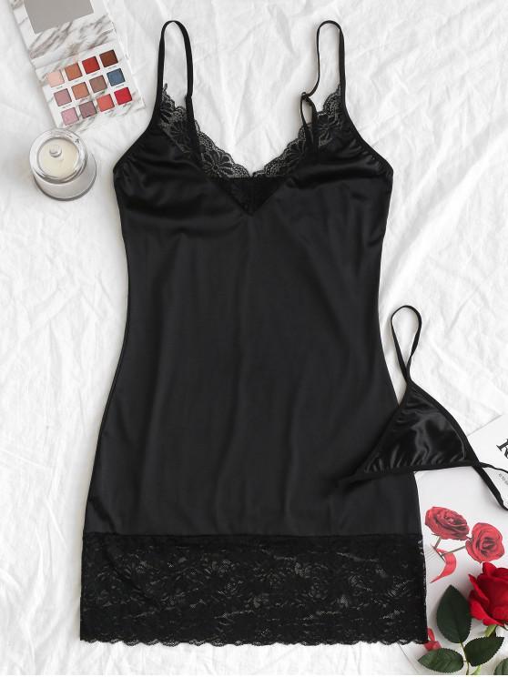 womens Lace Insert Satin Cami Night Dress - BLACK L