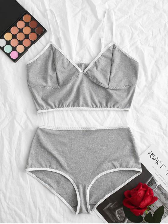 Bralette ribetes de contraste Heather conjunto de lencería - Gris L
