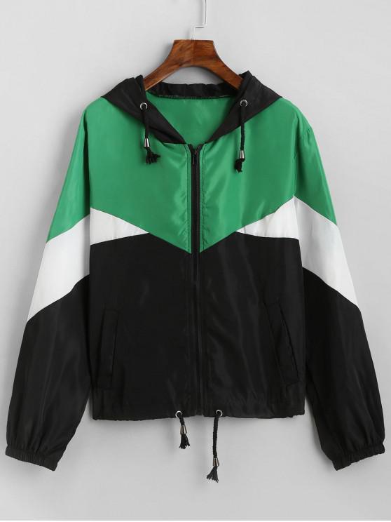 buy Colorblock Hooded Drawstring Hem Windbreaker Jacket - MULTI-A M