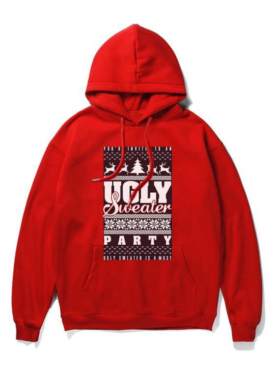 Navidad con capucha Impreso gráfico - Rojo 2XL