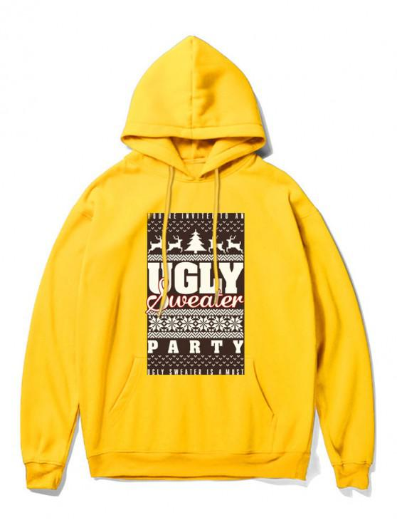 chic Christmas Graphic Printed Hoodie - YELLOW 2XL