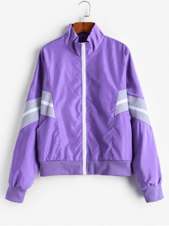 Молния Карманы Ветронепроницаемая Куртка - Фиолетовый L