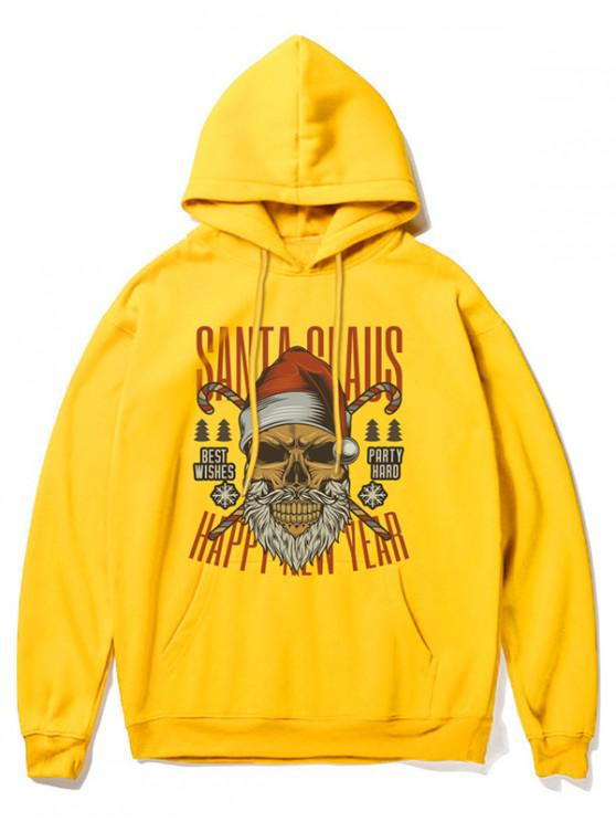 outfit Cartoon Skull Print Casual Hoodie - YELLOW XL