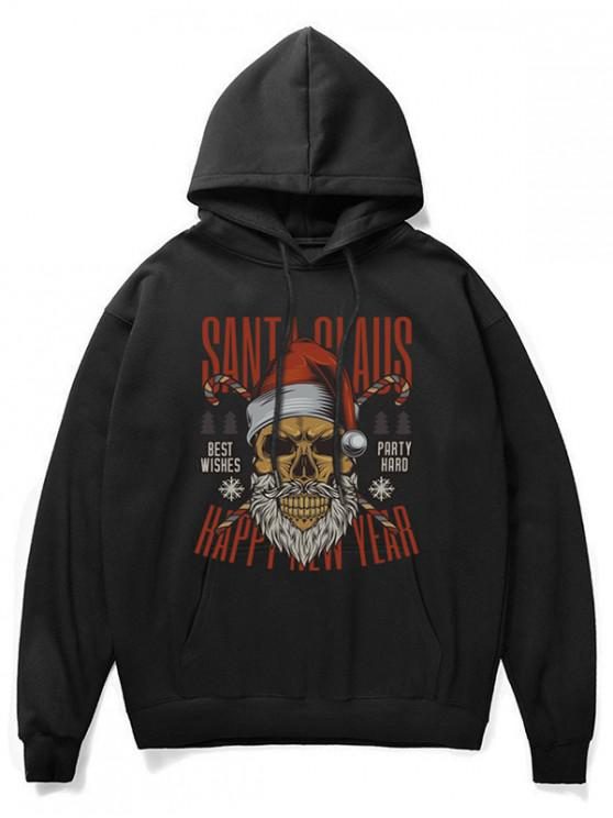 fancy Cartoon Skull Print Casual Hoodie - BLACK 2XL