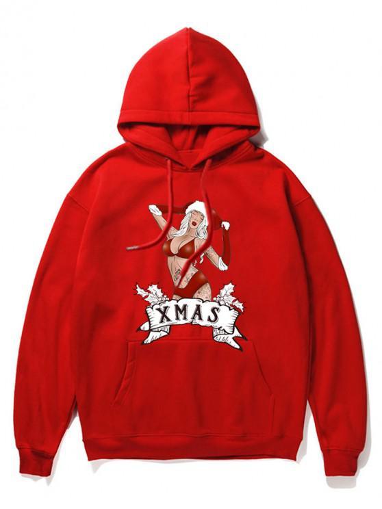 Sudadera con capucha del bolsillo imprimió la historieta de Navidad - Rojo 2XL