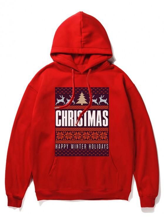 スノーフレークレタープリントクリスマスパーカー - 赤 2XL