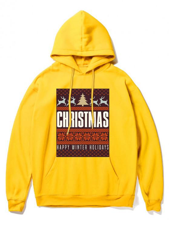 fashion Snowflake Letter Printed Christmas Hoodie - YELLOW M