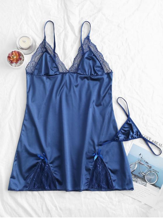 Robe de Nuit Fendue en Dentelle Insérée avec Nœud Papillon en Satin - Bleu profond S
