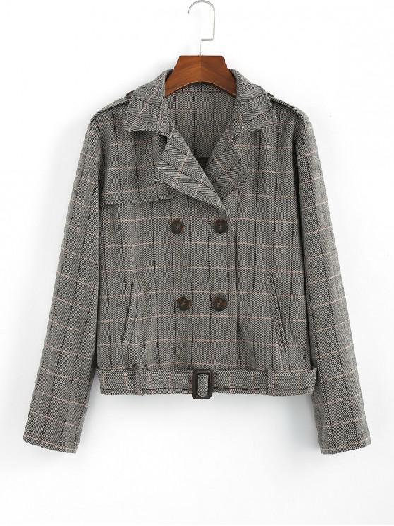 ZAFUL tela escocesa de pecho doble cinturón de bolsillo de la chaqueta - Multicolor L