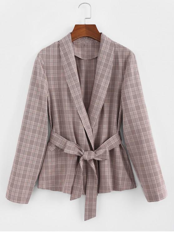 trendy ZAFUL Shawl Collar Belted Plaid Blazer - KHAKI ROSE L