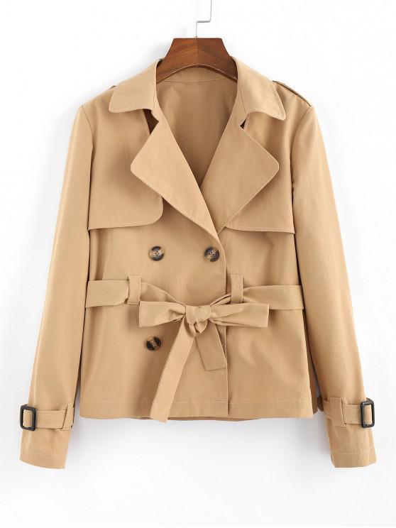 chic ZAFUL Double Breasted Belted Overlap Jacket - LIGHT KHAKI L