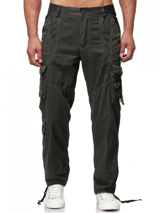 fancy Long Straight Solid Multi Flap Pocket Cargo Pants - ARMY GREEN 36