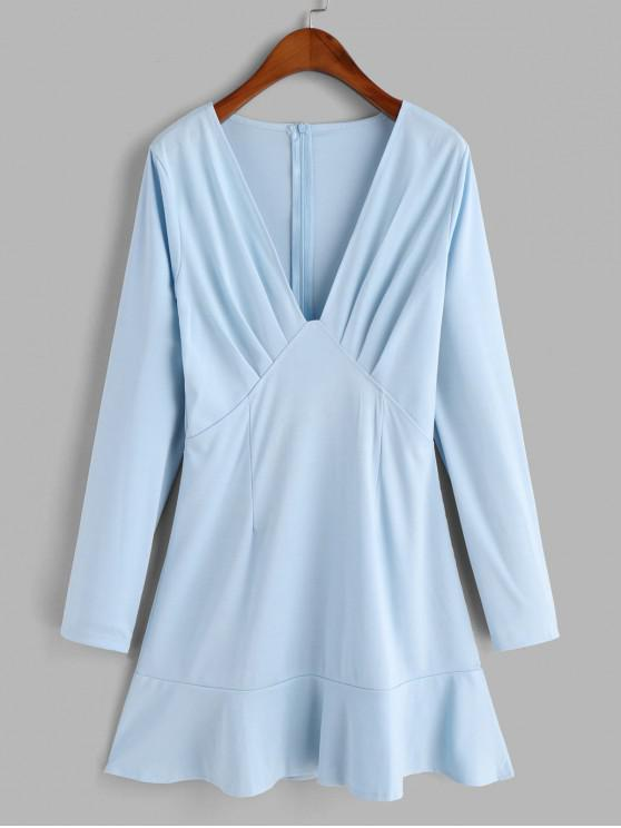 sale Plunging Neck Long Sleeve Mini Ruffled Hem Dress - BABY BLUE L