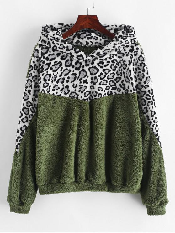 women's Drop Shoulder Leopard Fluffy Faux Shearling Hoodie - ARMY GREEN XL