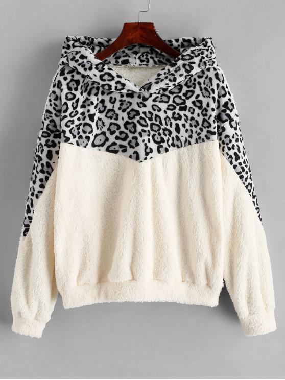 best Drop Shoulder Leopard Fluffy Faux Shearling Hoodie - WARM WHITE L