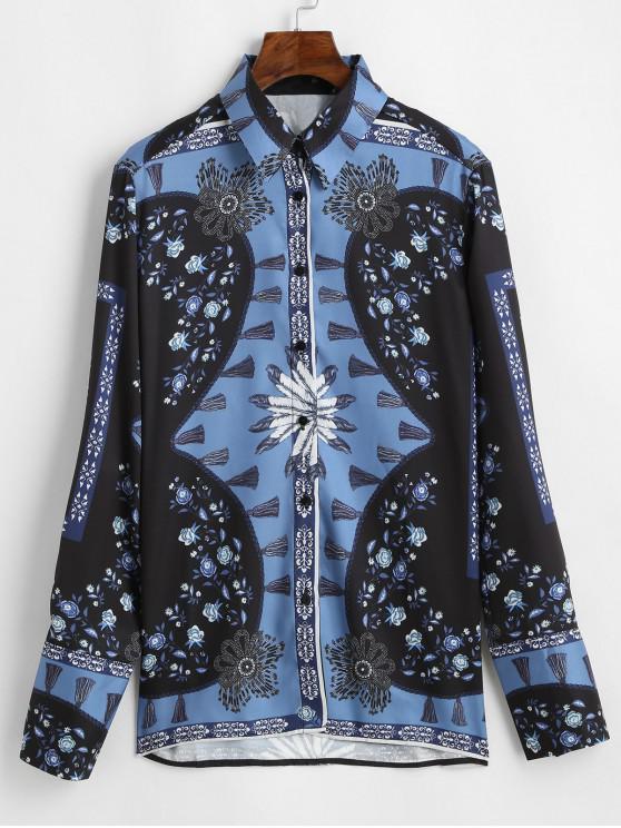 الأزهار الشرابة طباعة كم طويل قميص - أزرق S