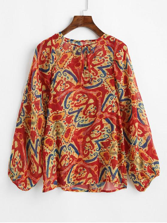 ladies Flower Pattern Lantern Sleeve Chiffon Blouse - MULTI M