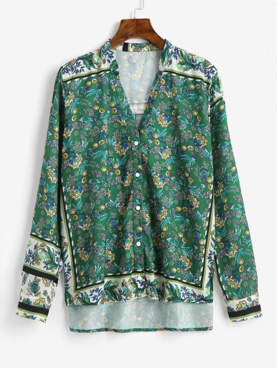 women Floral Print Button Up Vented Shirt - GREEN M