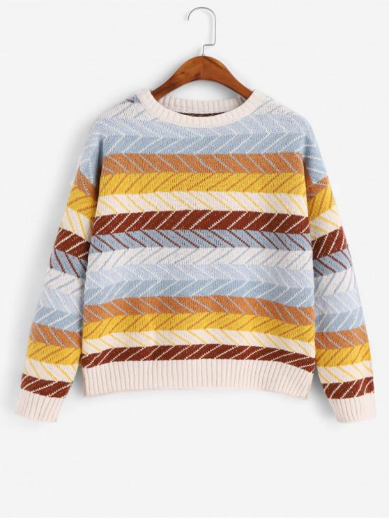women Zig Zag Colorblock Drop Shoulder Sweater - MULTI ONE SIZE