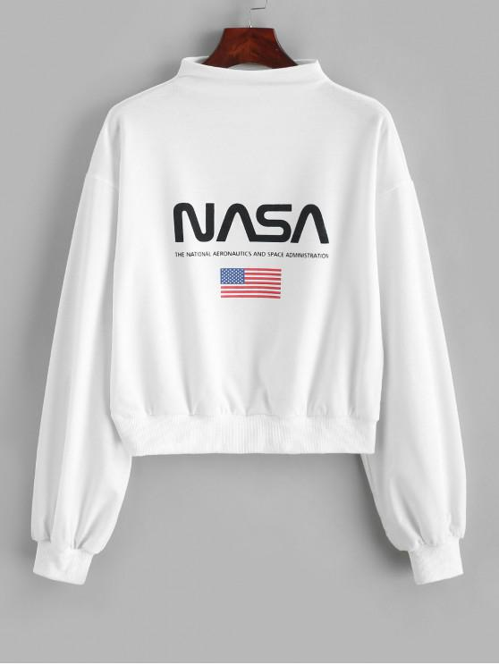 shops ZAFUL Mock Neck Drop Shoulder American Flag Sweatshirt - WHITE XL