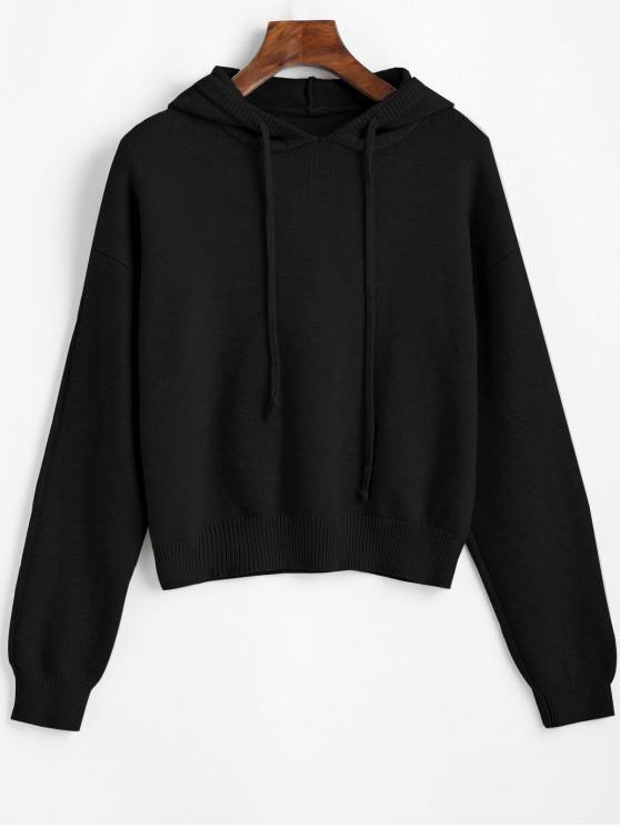 women's Hooded Drop Shoulder Jumper Sweater - BLACK ONE SIZE