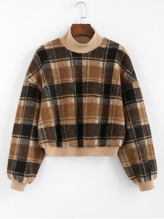 ZAFUL Sweat-shirt Contrasté à Carreaux en Fausse Fourrure à Col Montant - Multi-C L