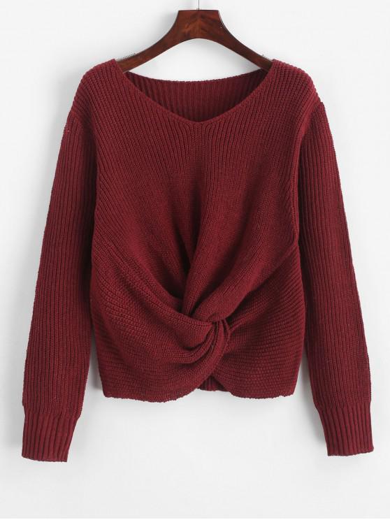 trendy Pullover Twist Hem V Neck Sweater - RED WINE M