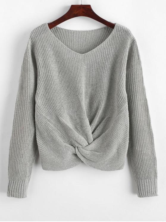 shops Pullover Twist Hem V Neck Sweater - LIGHT GRAY XL