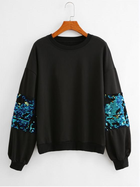 unique Glitter Sequined Mixed-media Drop Shoulder Sweatshirt - BLACK M
