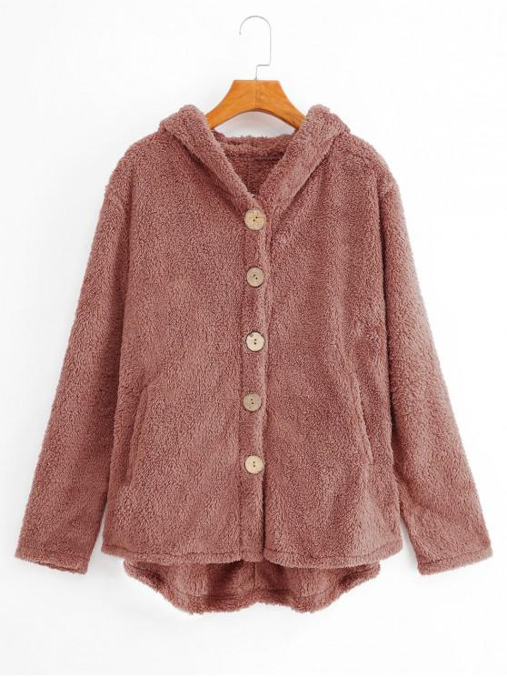 Botón capucha hasta los bolsillos del abrigo mullido - Rosado XL