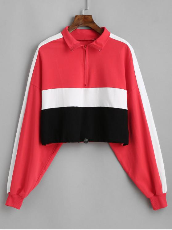 sale Colorblock Toggle Drawstring Hem Cropped Sweatshirt - MULTI-A L