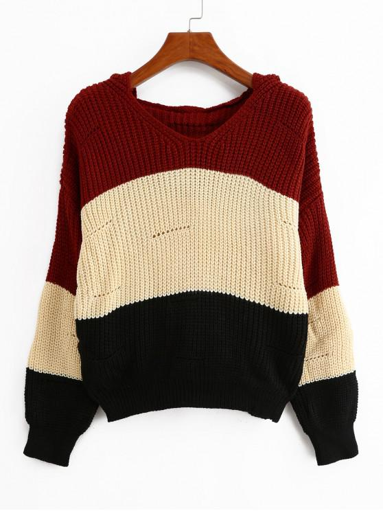 new Color-blocking Hooded Pointelle Drop Shoulder Sweater - MULTI-A ONE SIZE
