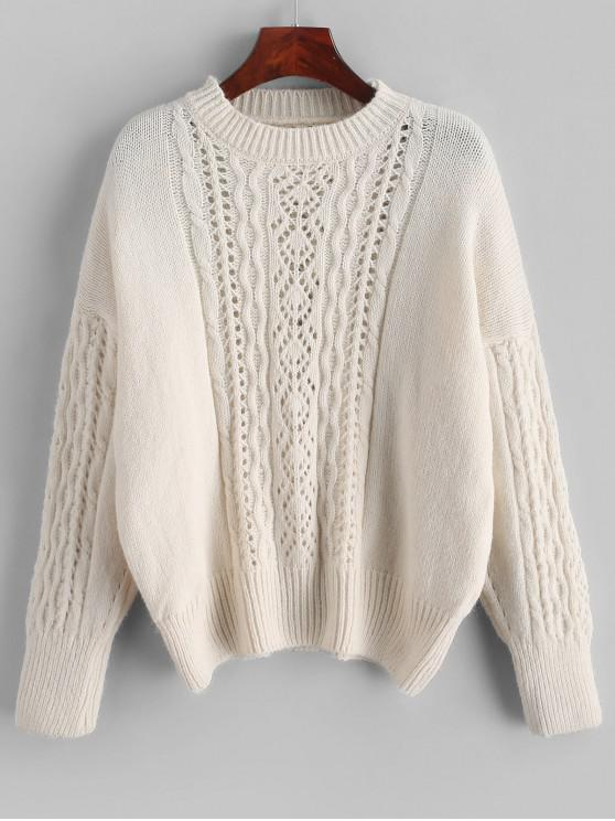 fancy Solid Pointelle Knit Crew Neck Cable Knit Sweater - WHITE ONE SIZE