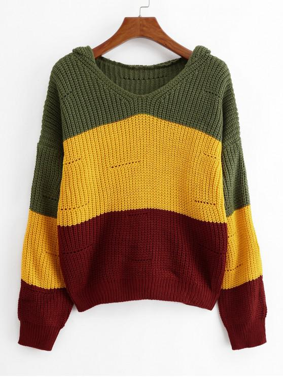 online Color-blocking Hooded Pointelle Drop Shoulder Sweater - MULTI-C ONE SIZE
