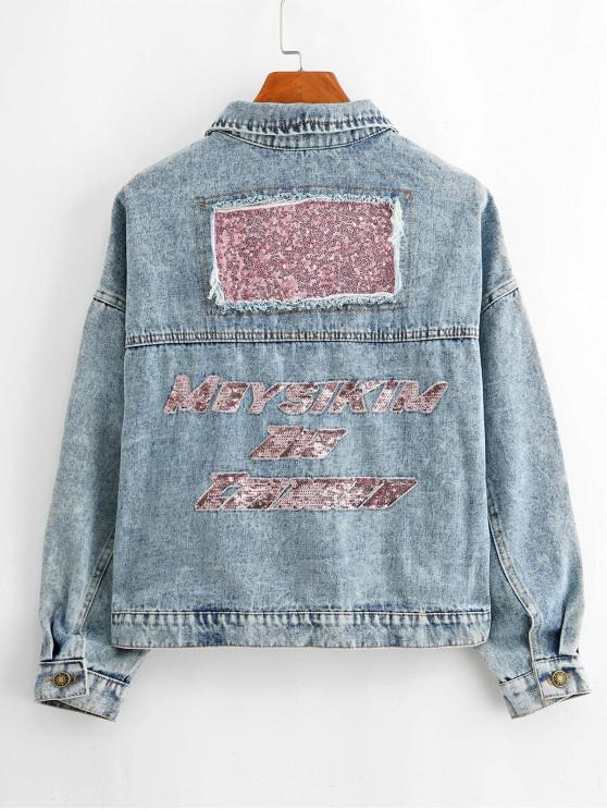 trendy Sequined Drop Shoulder Pocket Denim Jeans Jacket - BLUE M