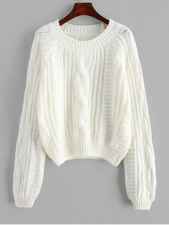 ladies Cable Knit Solid Color Chunky Sweater - WHITE S
