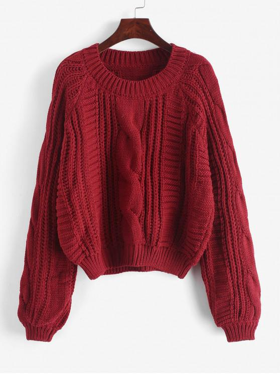 best Cable Knit Solid Color Chunky Sweater - RED WINE L