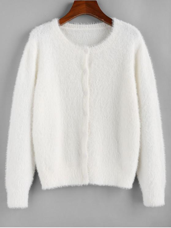 buy ZAFUL Fuzzy Knit Plain Round Neck Cardigan - COOL WHITE M