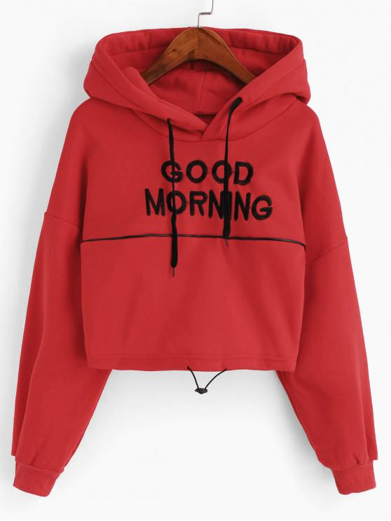 ladies Toggle Drawstring Drop Shoulder Letter Embroidered Hoodie - RED M